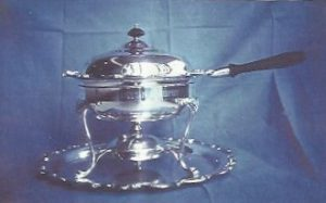 Silver chafing dish and tray awarded as the Minton Trophy